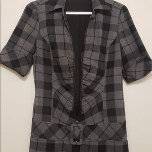 Le Chateau Grey Cinched w Belt Short Midi Dress